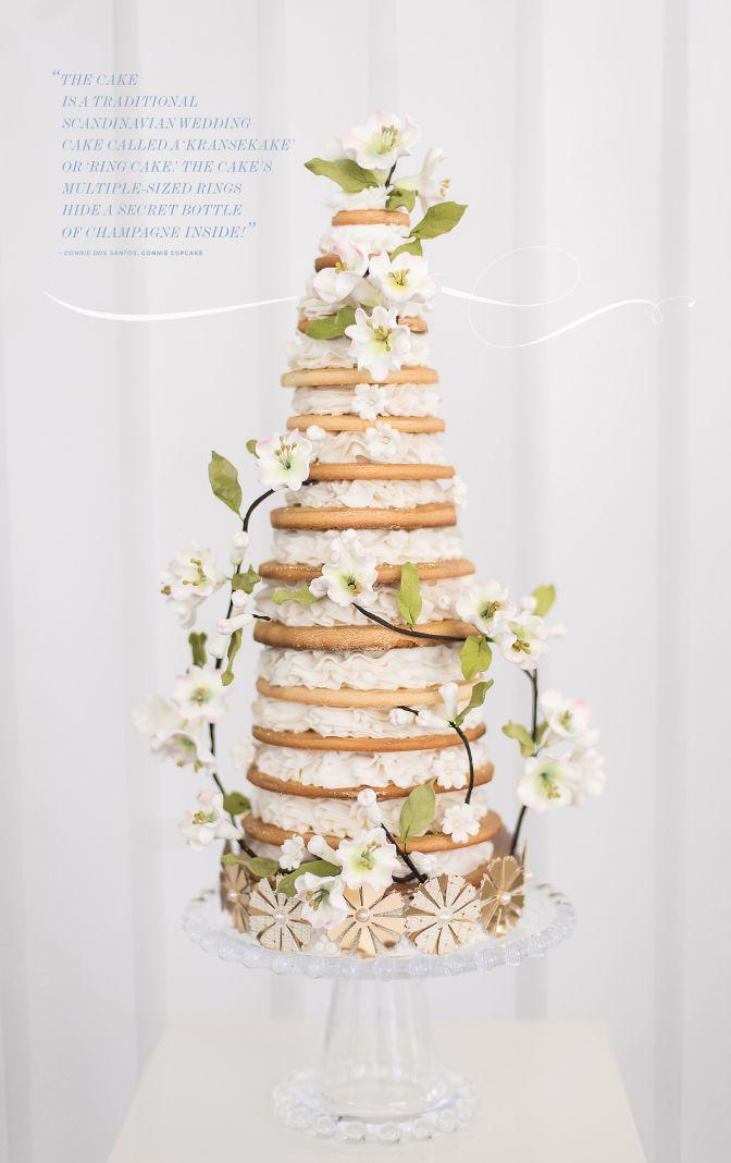 scandinavian wedding cake called kransekake or ring cake. The cake ...
