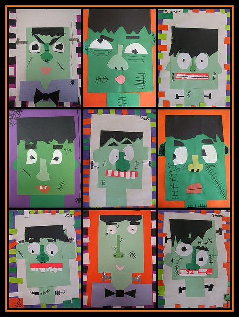 "monsters of frankenstein - could do a descriptive writing piece and then let kids use writing pieces as ""clues"" to identify which monsters they describe"