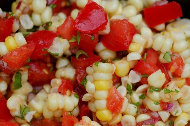 Tomato, sweet corn and basil salad | Food - Salads, Breads and Sandwi ...