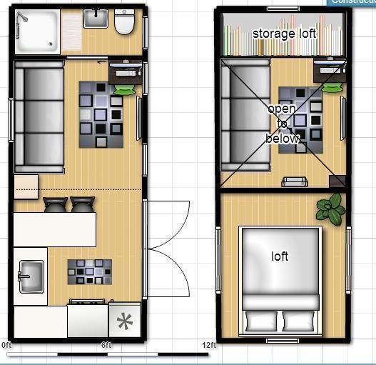8x20 ISBU Tiny House Render - Floorplan