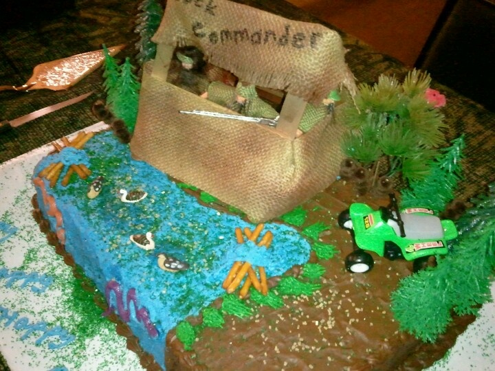 Duck Dynasty birthday party cake. Duck blind made from craft sticks