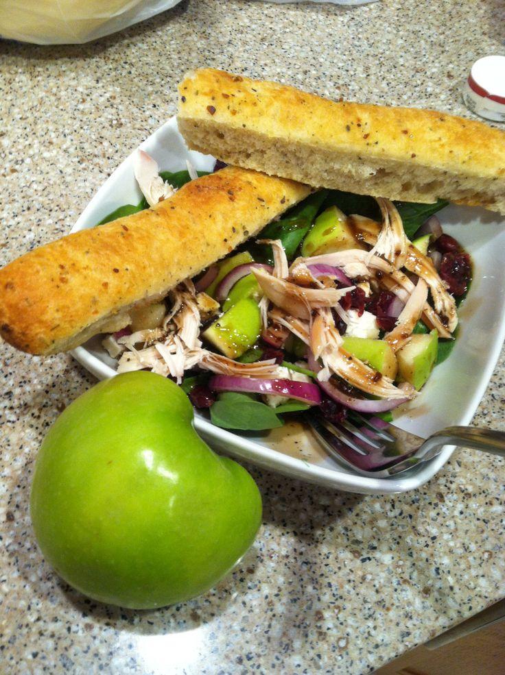 Green Apple Spinach Salad- Granny Smith apple, purple onion, feta ...