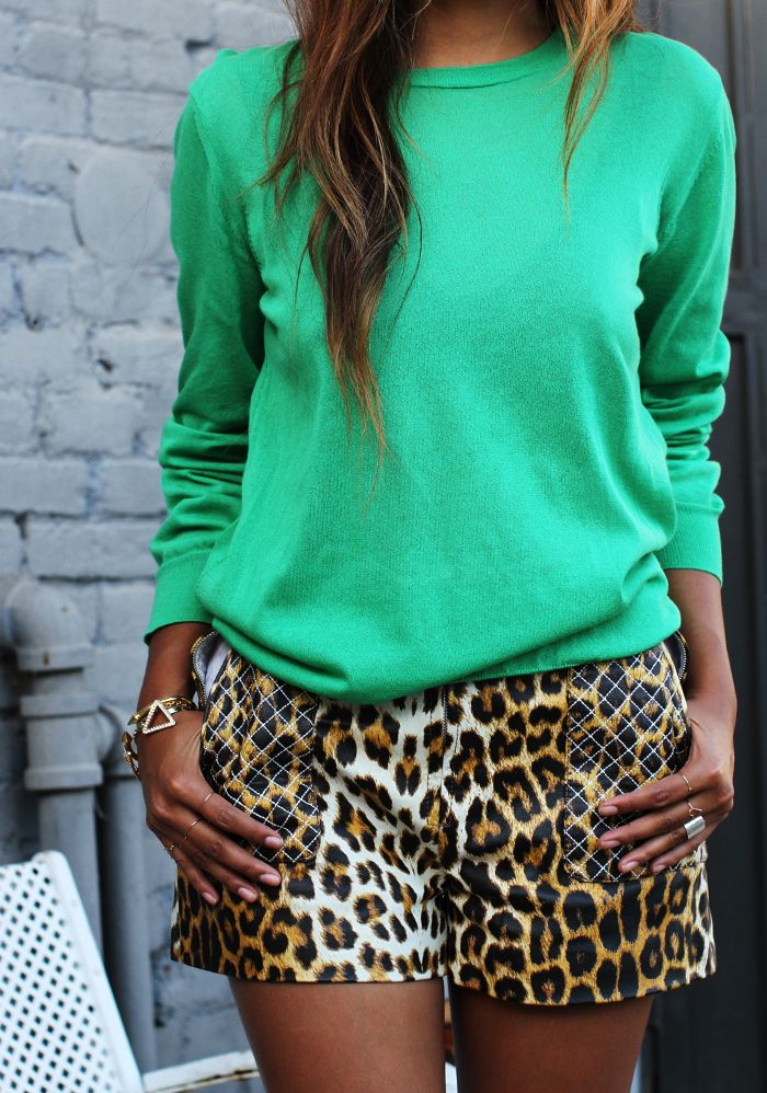 Don't be afraid to pair bold colors with leopard. No need for black and white, use hot pink, orange, cobalt, and emerald (pictured here) to keep animal print from looking too dressed up.