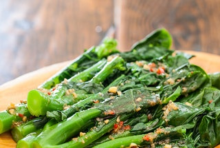 stir fried chinese broccoli with crispy pork belly khana mu krop ...