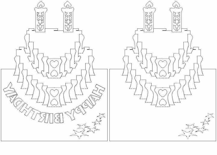 Kirigami Birthday Card Template Choice Image