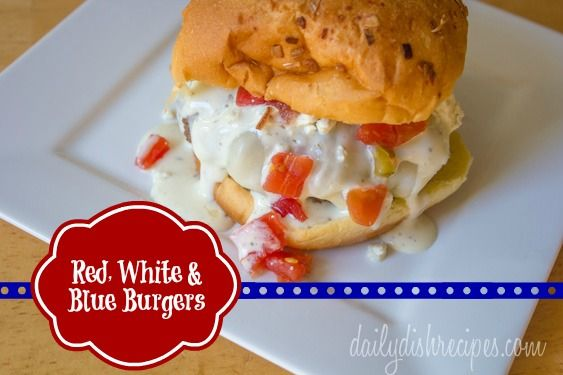 Red, White & Blue Burgers #SundaySupper #LaborDay | Recipe