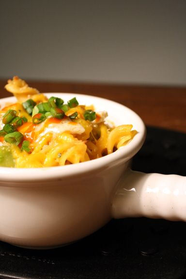 Buffalo Chicken Mac and Cheese with Broccoli