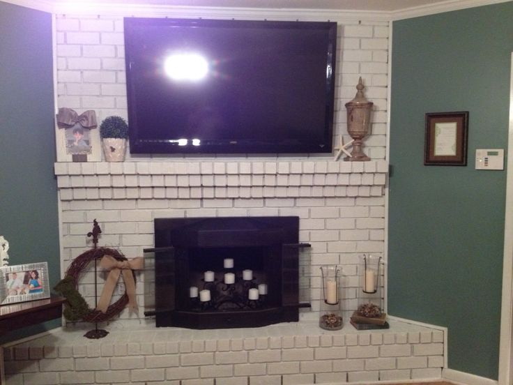 painted brick fireplace home ideas