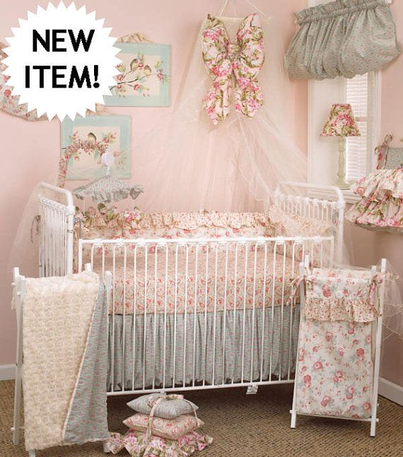 Shabby Chic Tea Party Baby Crib Bedding 4 Peice Set on Etsy, $220.00