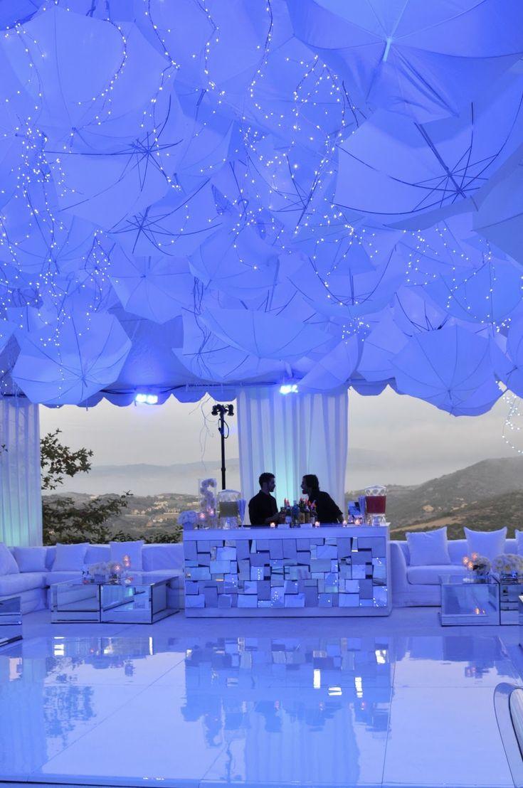 Umbrellas with string light awesomeness wedding ceiling for Decor umbrellas