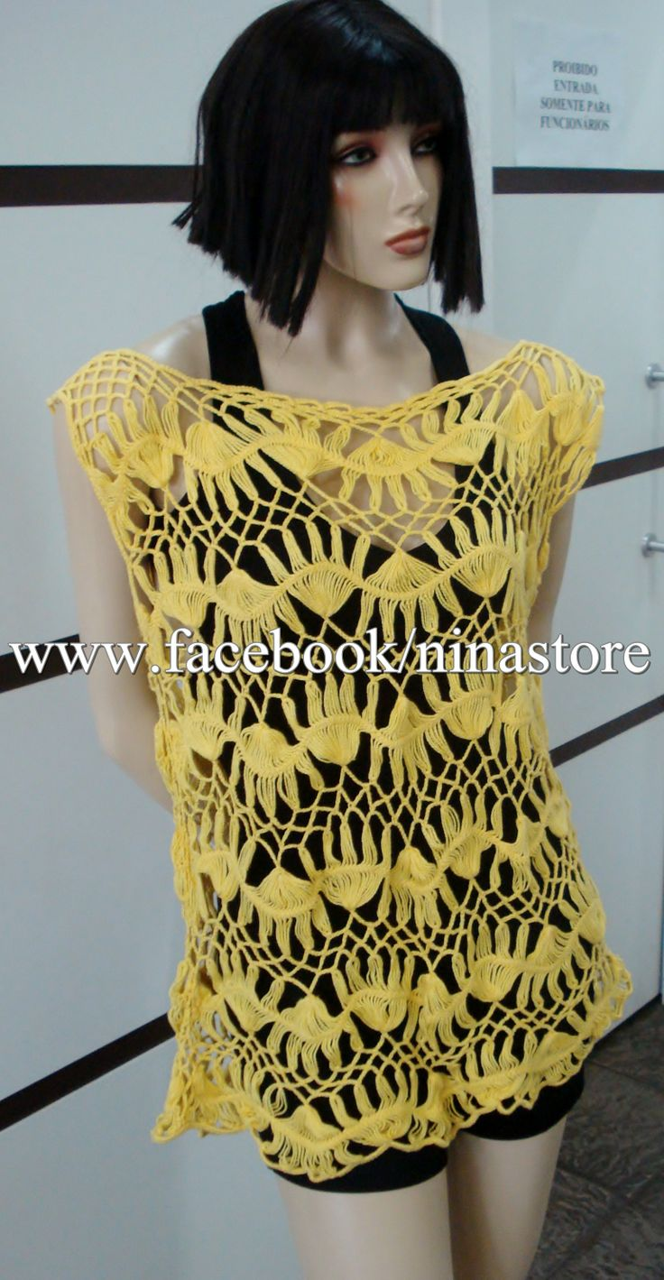 Saída de praia amarela   Blusas em crochê de grampo   Pinterest