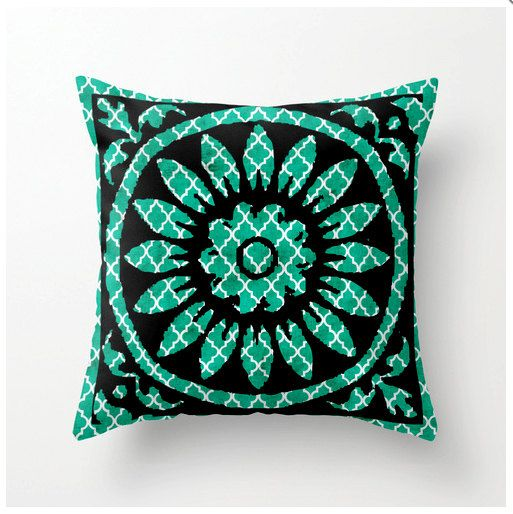 Decorative Turquoise Throw Pillows : Decorative Throw Pillow Turquoise blue tile print - home decor - acce?