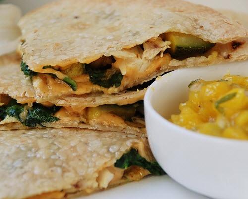 Chicken Veggie Quesadilla. Simple, just chicken, zucchini, spinich ...