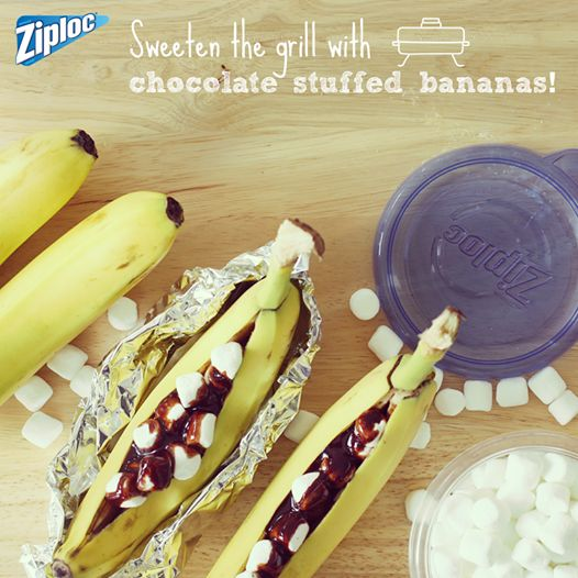 Chocolate And Marshmallow Stuffed BBQ Bananas Recipe — Dishmaps