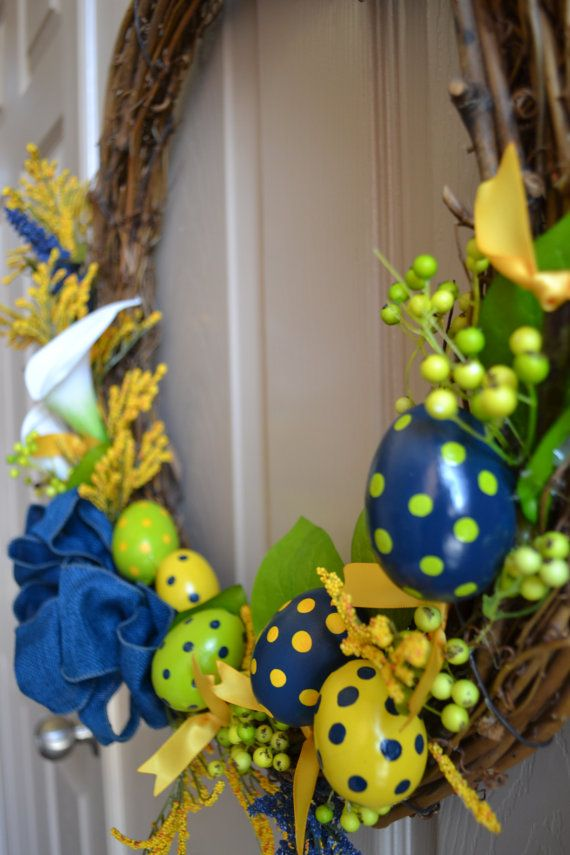 Navy Blue, Grass Green and Gold Easter Wreath with Lillies, Polka Dot ...