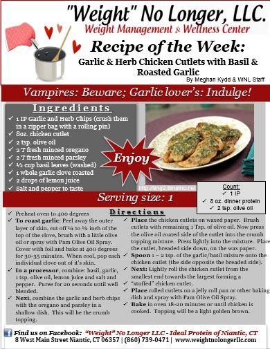 "Recipe: ""Garlic & Herb Chicken Cutlets with Basil & Roasted Garl..."
