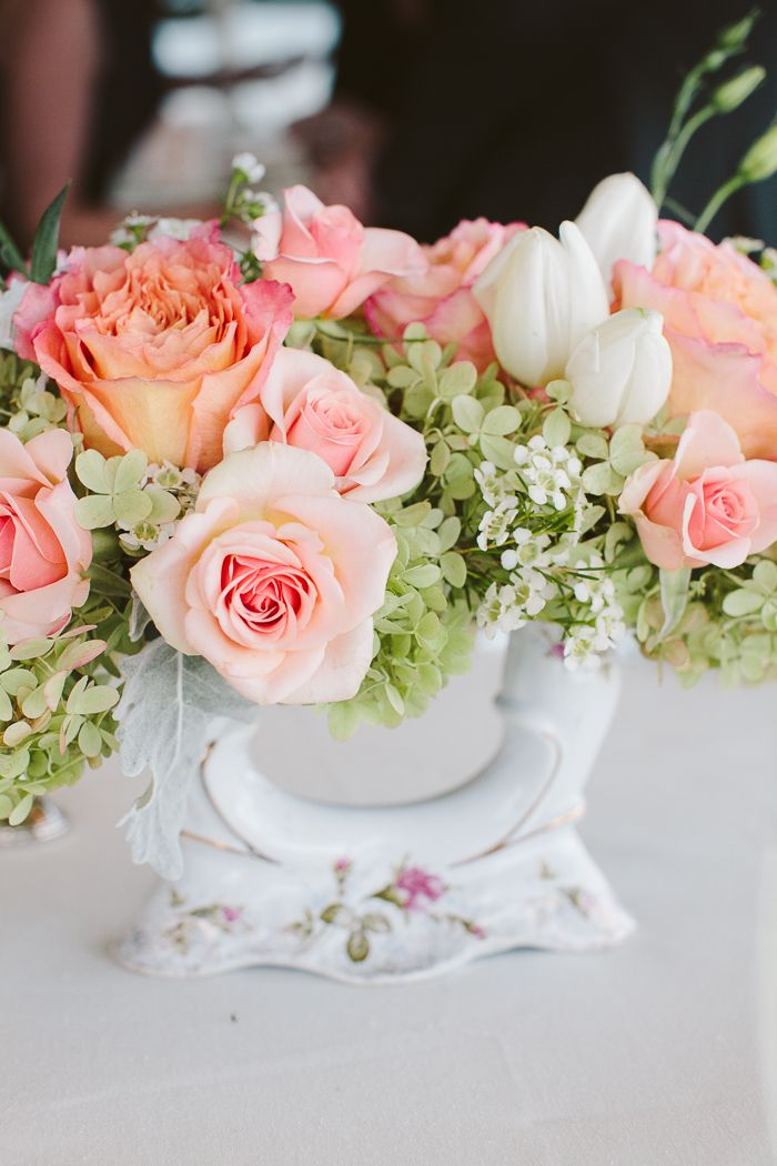 Wedding Flowers In Vases : Peach and green flowers in vintage vase reception decor