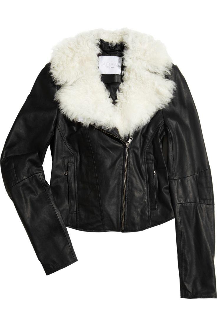 Adam Shearling collar black leather aviator jacket $895