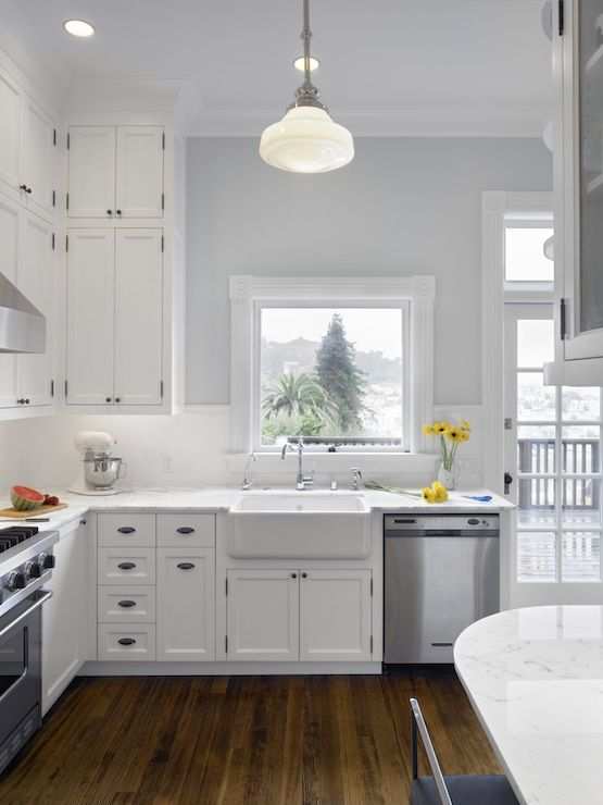 White kitchen and wood floors  Cooking Spaces  Pinterest