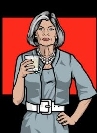 Malory Archer onscreen . . .my inspiration for the costume on this board.