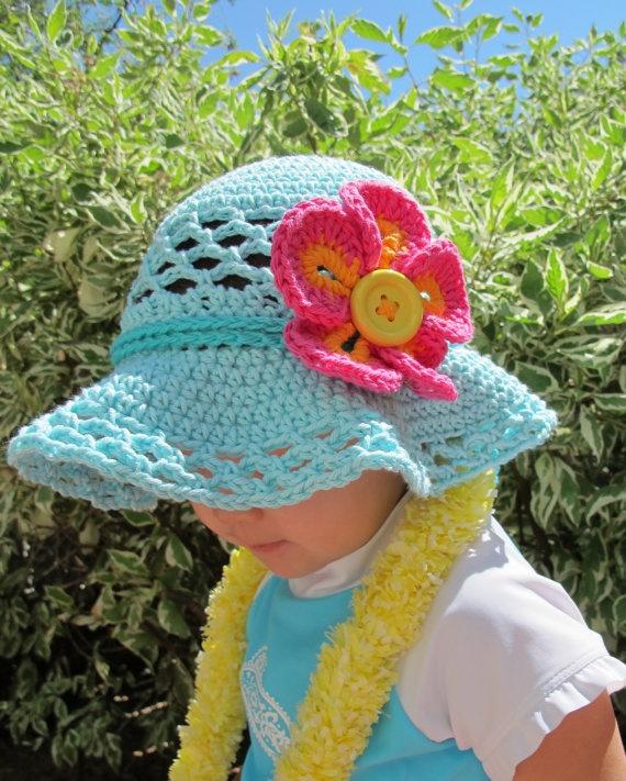 Crochet Baby Girl Sun Hat Pattern : CROCHET PATTERN - Island Girl - a sun hat with flower in 5 ...