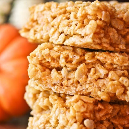 pumpkin spice rice krispie treats   Food   Pinterest