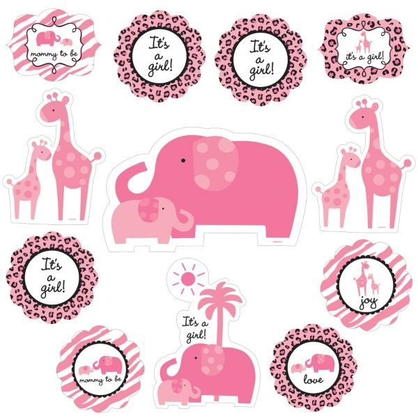 Pink safari baby shower cutouts 12ct for Baby shower decoration cutouts