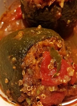 green peppers stuffed with quinoa, sweet red peppers, onions, feta ...
