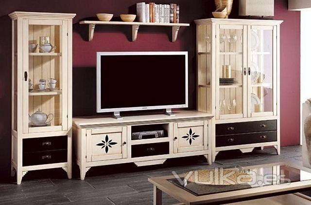 Vitrinas y Mueble de Tv Blanco Envejecido  MUEBLES VINTAGE