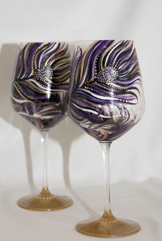 Set of 2 hand painted wine glass peacock design purple for Hand designed wine glasses
