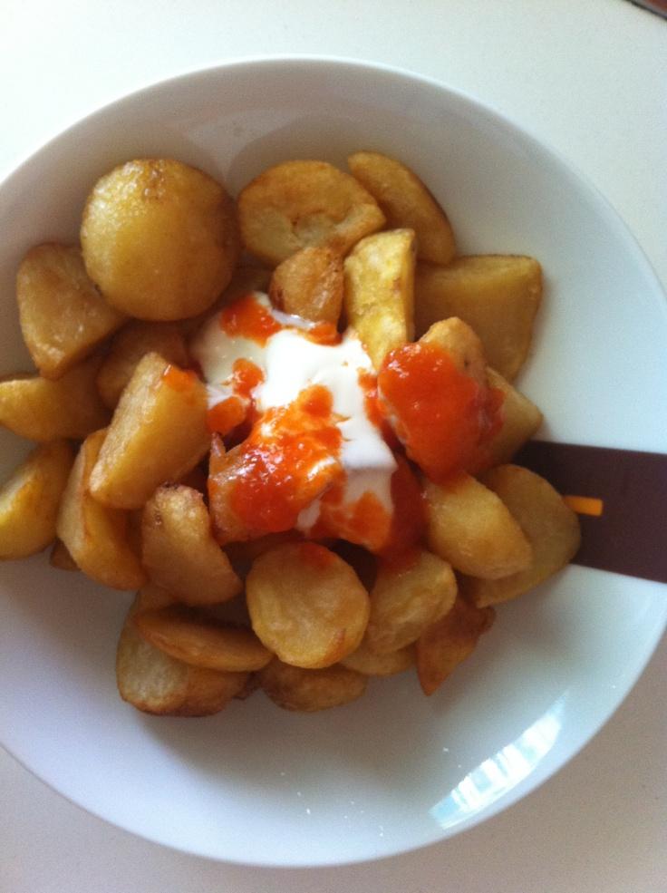 Patatas Bravas With Ham And Egg Recipe — Dishmaps
