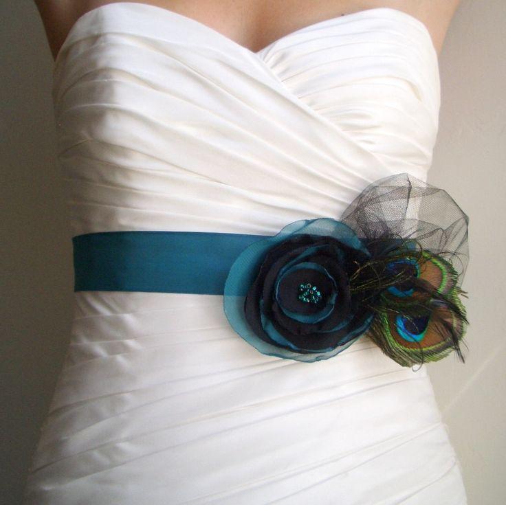 Wedding sash bridal bridesmaid belt with peacock feathers for Peacock wedding dress sash