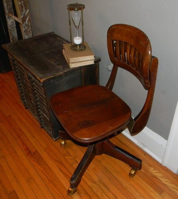 Vintage Metal Wood Office Chair