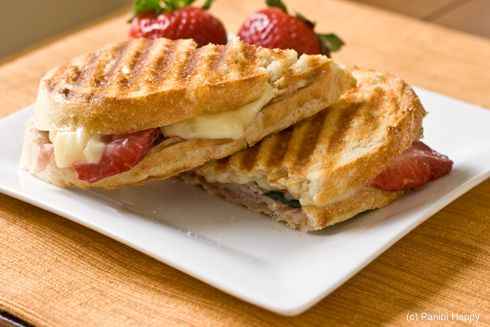 Strawberry, turkey, and red pepper jelly panini We use goat cheese or ...