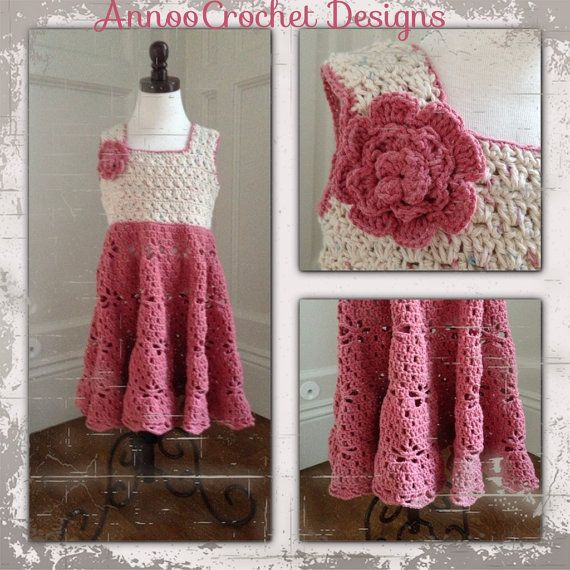 Crochet Patterns Little Girl Dresses : Little Girl Vintage Dress by AnnooCrochet on Etsy, $5.99