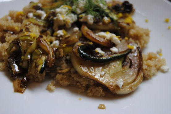 ... Fennel, Leeks & Zucchini Over Quinoa with Goat's Cheese & Dill