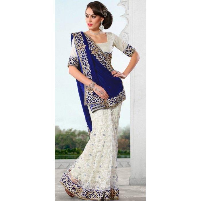 Blue and White Velvet Saree