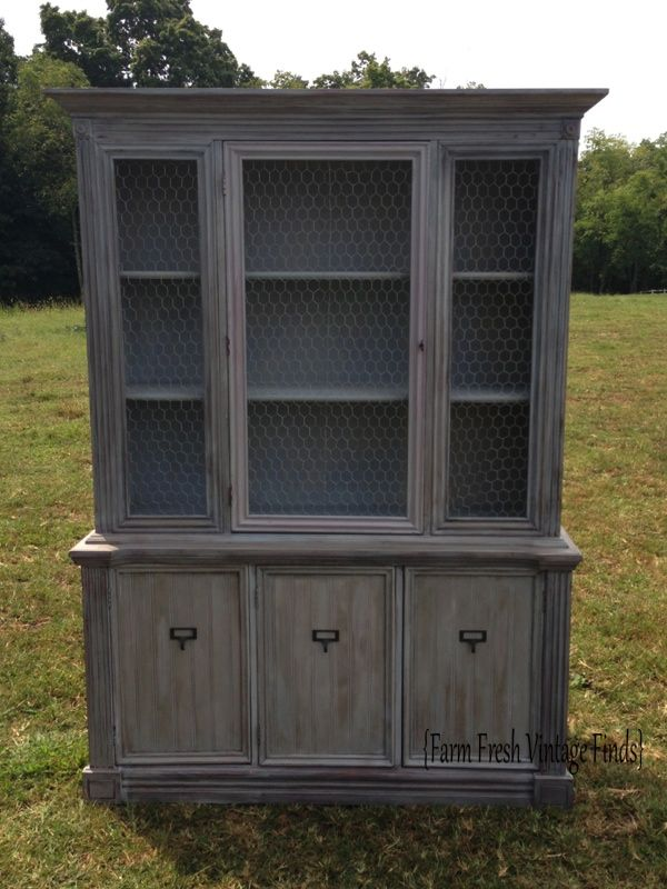Ballard Design Inspired Shutter Gray Hutch