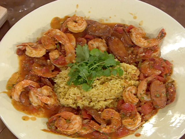 Shrimp, Chorizo and Chipotle Gravy over Mexican Rice from FoodNetwork ...