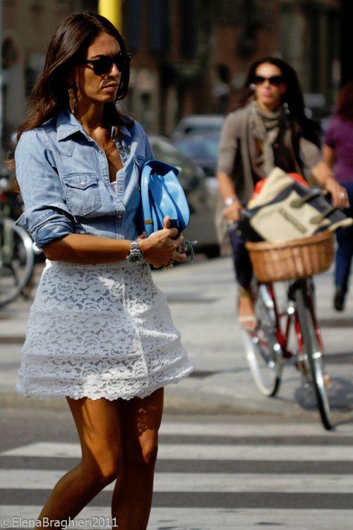 lace skirt and denim shirt viviana volpicella