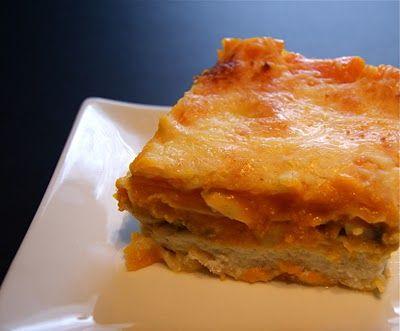 Roasted butternut squash and mushroom lasagna