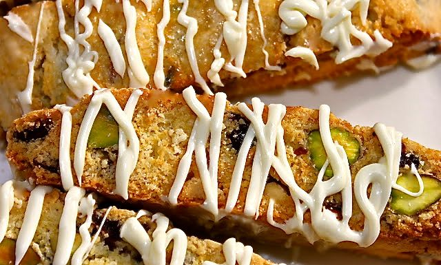 White Chocolate Drizzled Cranberry Pistachio Biscotti made for us by ...