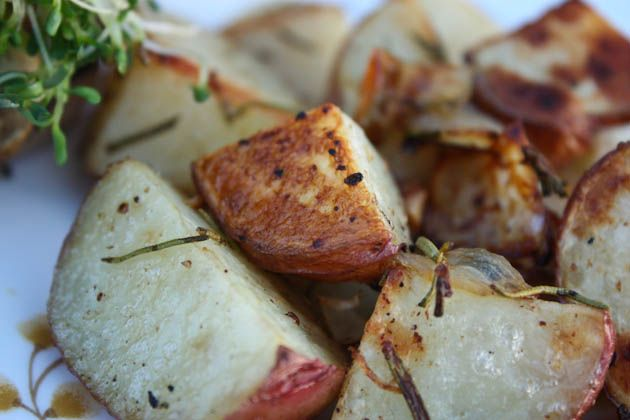 Simple Side - Garlic Rosemary Roasted Potatoes and Onions