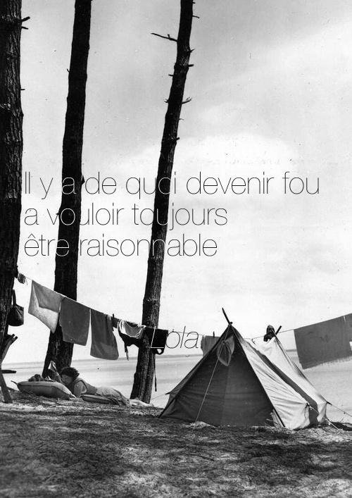 Il y a de quoi devenir fou a vouloir toujours être raisonnable. - Lola