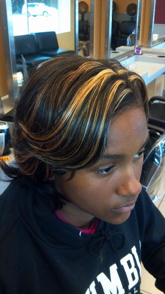 Bold highlights with silk wrap | Hair | Pinterest