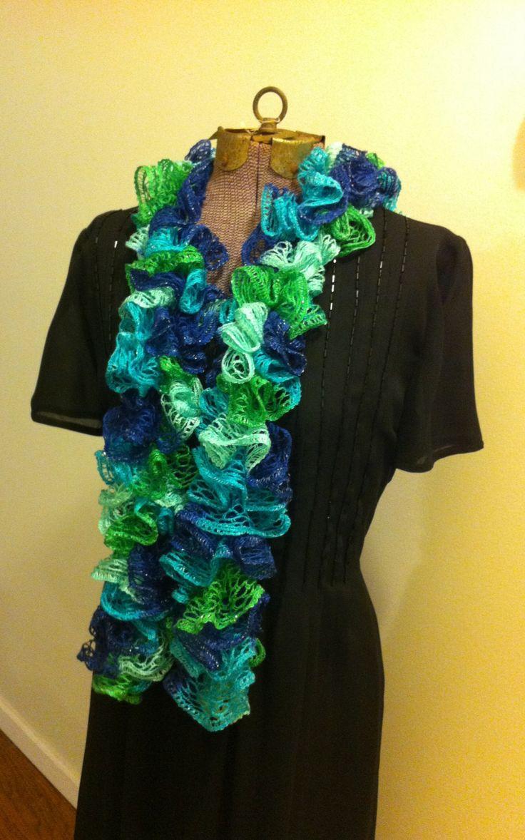 Crochet Scarf Patterns Ribbon Yarn : Ruffle ribbon yarn scarf - crochet Knitting & crocheting ...