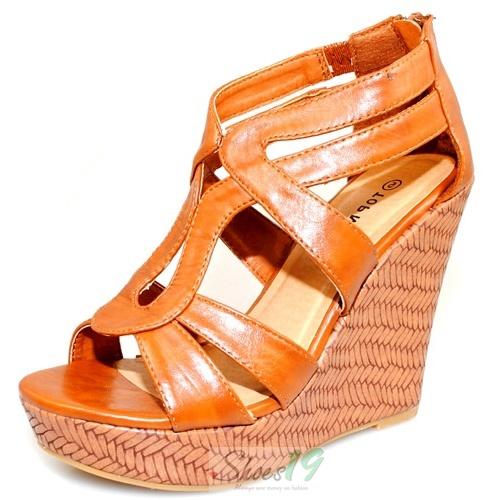 Lindy-1 Tan Platform Wedges Top Moda Shoes $19.00 Clubbing Wedding