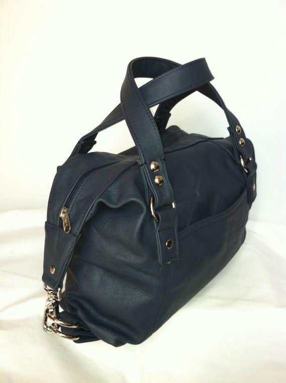 Genuine medium italian navy blue leather hobo purse by Fgalaze, 94.99