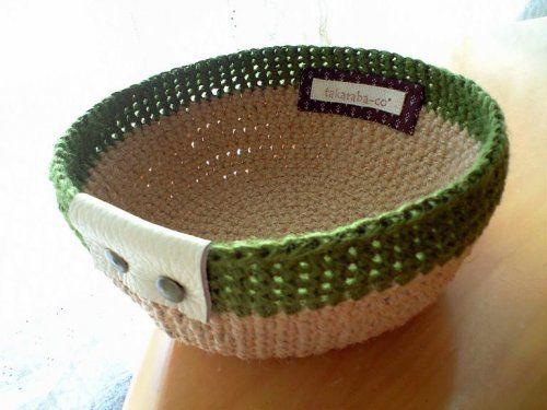 Hemp rope basket like a bowl #crochet Baskets & Bowls Pinterest
