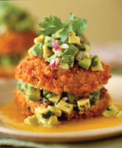 Crab and Avocado Sandwishes with Mango Coulis.